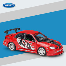Welly Diecast 1:24 Scale SUBARU IMPREZA WRX STI APR VERSION Red Metal Alloy Toy Car Sport Car Model For Children Gift Collection
