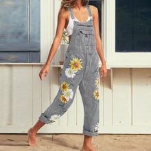 Womens Boho Floral Denim Dungarees Jumpsuit Holiday Jeans Rompers Playsuit Pants
