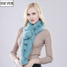 2020 Hot Sale Winter Lady Knit Real Rabbit Fur Scarves Women Quality Natural Warm 100% Genuine Rabbit Fur Scarf Wholesale Retail