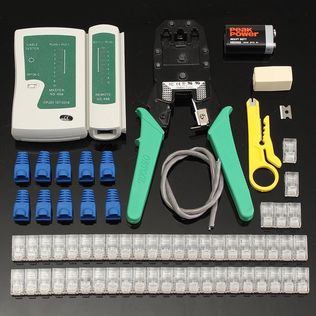 RJ45 Network  Cable Tester Ethernet Lan Tester Kit Cable rj45 connector Crimper Crimping Tool  Wire Stripper Cable Tester