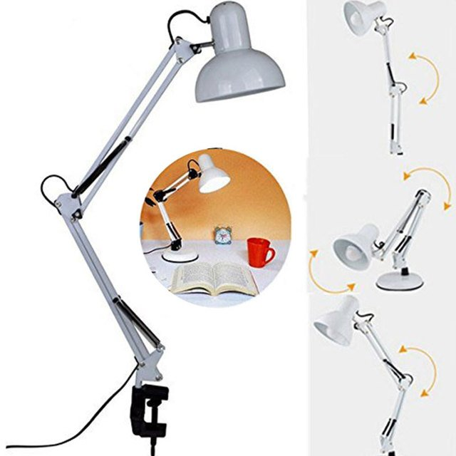 Desk Lamp Table Light E27 LED White Bedside Switch Lights Swing Arm Bedside Lamp Clamp Office Adjustable Study Home Lamps