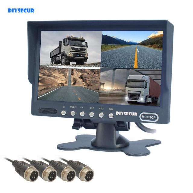 "DIYSECUR 4 x 4-PIN Port 7"" 4 Split Quad LCD Screen Display Color Rear View Monitor Car Monitor for Monitor System"