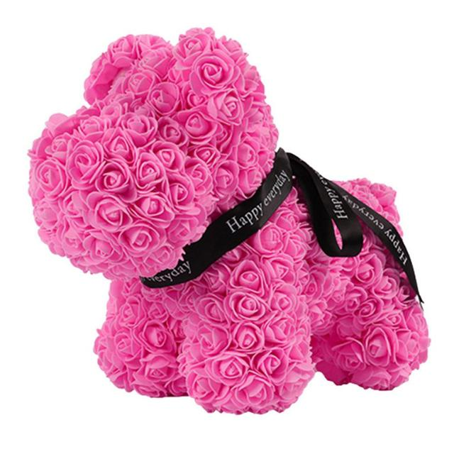1pcs PE Dog Dolls Birthday Decor Lovely Rose Dog Simulated Romantic Girlfriend Artificial Rose Gift Love Toy Wedding Gift