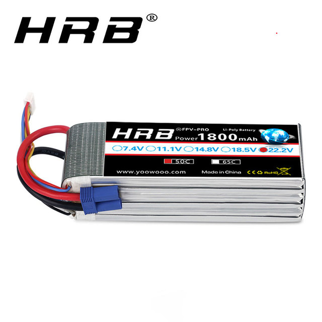 HRB RC Battery 22.2V 1800mAh 50C 6S Lipo 50C with XT60 connector AKKU RC Lipo FPV RC  Quapcopter Drone Trex 450 550 helicopter