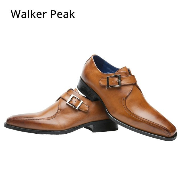 Men Business Dress Shoes Fashion Slip On Flats Genuine Leather Formal Office Loafers Party Wedding Oxfords Shoes Male WalkerPeak