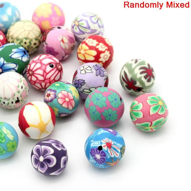 Clay Spacer Beads Round Mixed Flower Pattern 12-13mm Dia,Hole:Approx 2mm,30PCs (B24687) yiwu