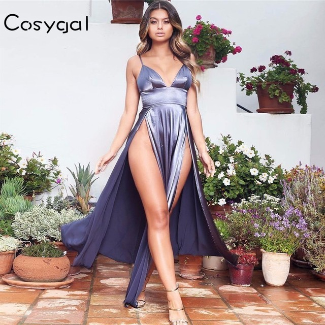 COSYGAL 2018 Summer Sexy Dress Long Maxi Vintage Women Christmas Dress Spaghetti Strap Evening Party Dresses Elegant Vestidos