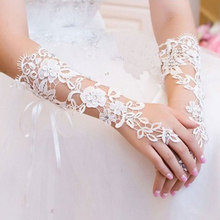 1 Pair of Short Wedding Gloves Fingerless Bridal Lace Gloves Rhinestone Decorated White Lace Gloves for Wedding Party Accessory