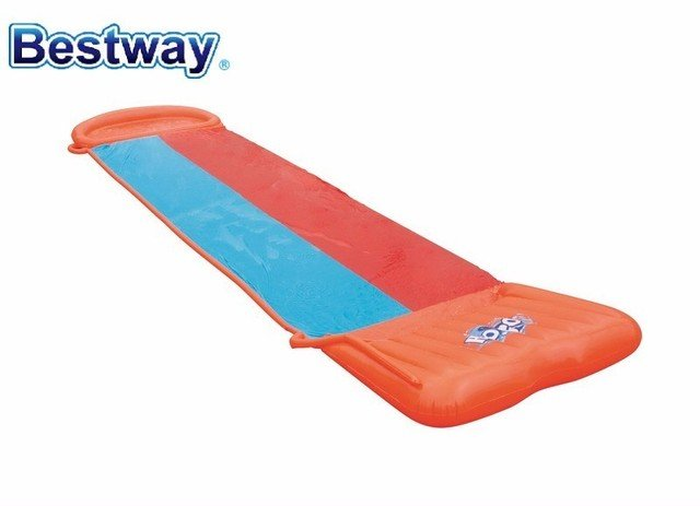 52199 Bestway 18' H2OGO! Double Slideway 5.49M Soft Landing For A Smooth & Fast Ride 2-Lane-Slider Racing With A Friend