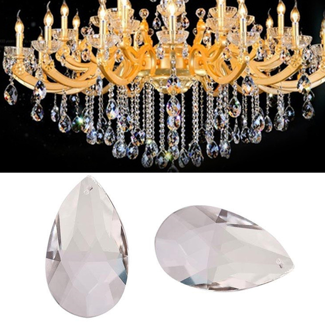 1PC Clear Angel Tears Chandelier Glass Crystals Lamp Prisms Parts Hanging Drops Pendants 50mm Water Drop Transparent Decor