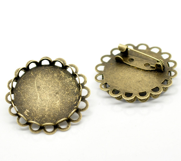 Antique Bronze Round Cabochon Frame Setting Brooches 32mm(Fit 25mm), sold per packet of 10 (B17206)