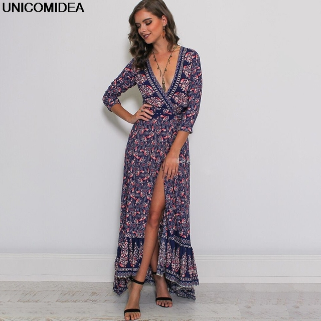 Deep V Neck Women Dress Sexy High Split Floral Maxi Party Dresses Robe Boho Beach Long Dress Mujer Female Vestidos de Festa