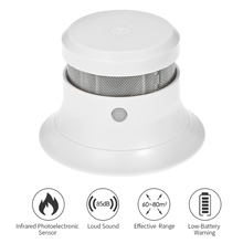 Battery Operated Photoelectric Smoke Alarm LED Light Flashing & Sound Warning Smoke Alert Detector for Home School Hotel