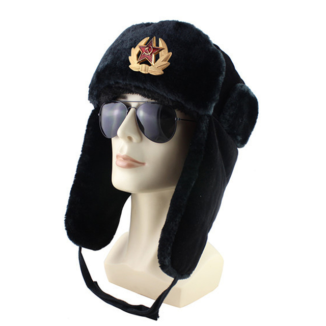 High Quality Bomber Hat Russian Army Trooper Aviator Winter Hat Ushanka Green Warm Cap Ear flaps Bomber lei feng Cap