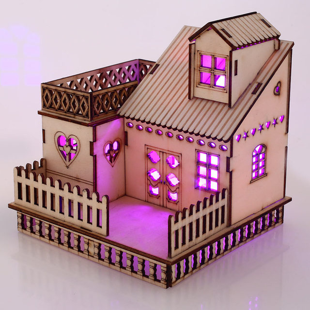 3d Wood Glowing Building Toys Entertainment Luminous Hut Luminous Brithday Wedding Valentine's Day Gift for Wife Girlfriend Son