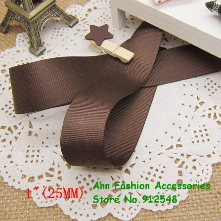 """Free shipping/Wholesale 1"""" (25mm) Coffee Solid Grosgrain Ribbon,lwd2511"""