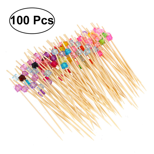 100pcs Bamboo Fruit Picks Disposable Cocktail Toothpicks Food Sandwich Picks Sticks with Acrylic Colored Beads (Multicolor)