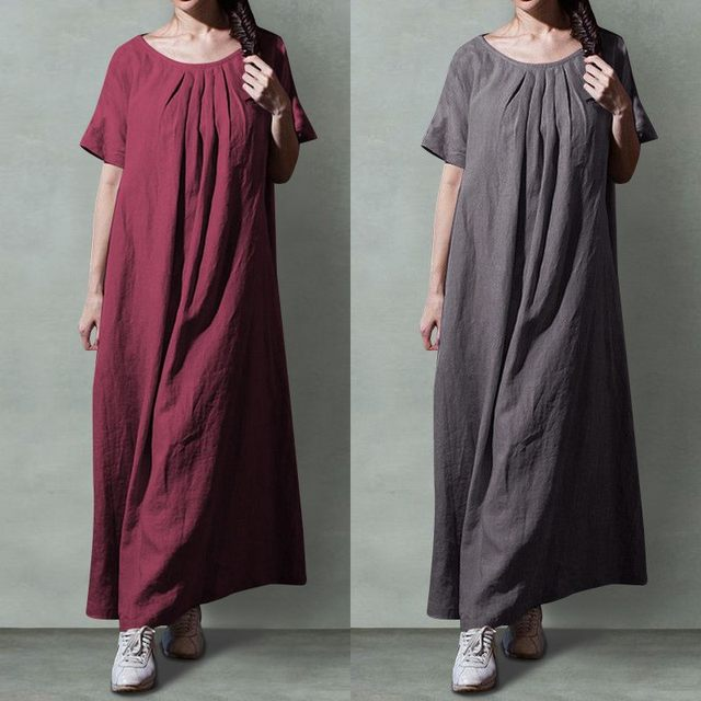 Celmia Plus Size Vintage Women Long Dress 2019 Summer Casual Cotton Linen Shirt Dresses Short Sleeve Pleated Maxi Vestidos Mujer