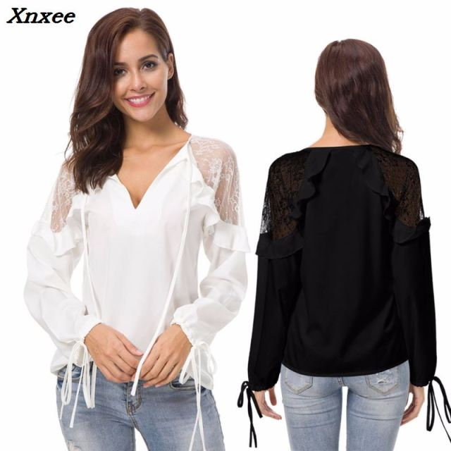 Summer white/black tops lace spliced long sleeve shirt sexy v-neck Chiffon blouse ruffle shoulder women clothes Plus size Xnxee
