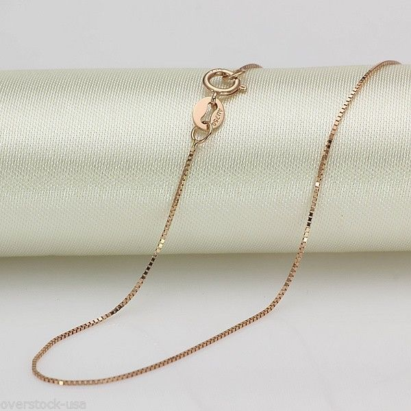 16 INCH Solid 18K Rose Gold Necklace Box Link Chain Necklace