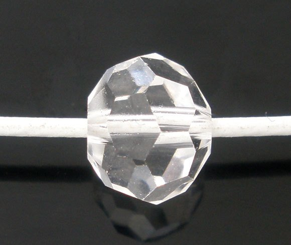 DoreenBeads 50Pcs Clear Created Crystal Quartz Faceted Round Beads 5000 8mm(B04883), yiwu