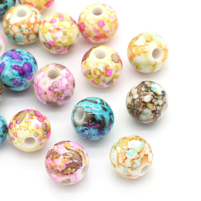 DoreenBeads Acrylic Spacer Beads Round Mixed 14mm Dia,Hole:Approx 3.6mm,50PCs (B23588) yiwu