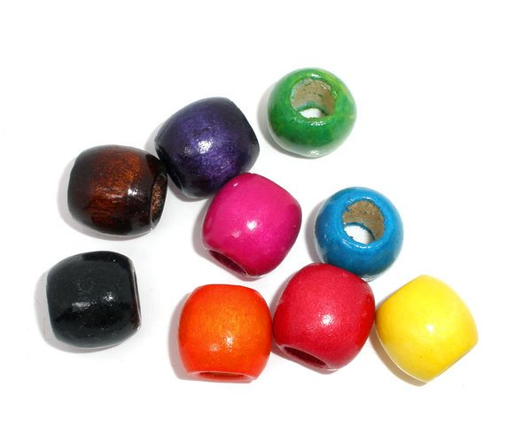 DoreenBeads 50 Mixed Dyed Drum Wood Spacer Beads 16x17mm (8mm Hole) (B06710), yiwu