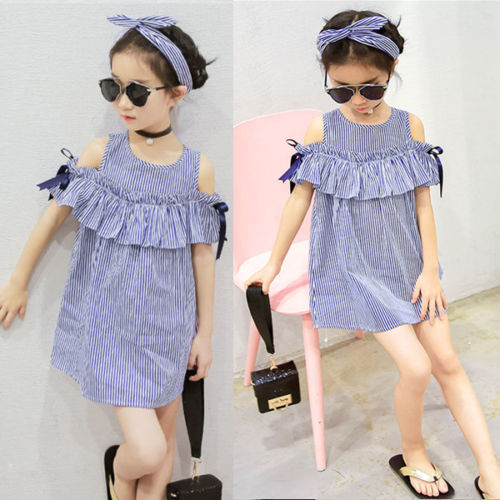 Striped Cold shoulder Dress with Headband For Girls