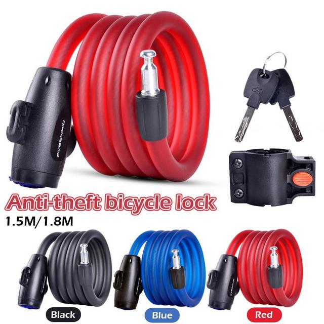 Anti-theft 1.5m/1.8m Long Steel Wire Bike Chains Lock Electric Car Portable Bike Cable Locks Bicycle Lock Cycling Accessory
