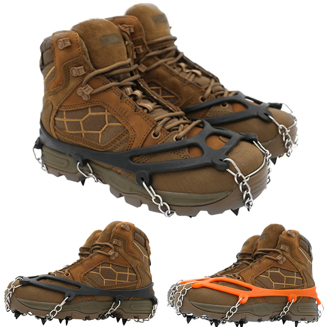 Shoe Cover Winter Spikes Crampons Outdoor Hiking Non Slip Manganese Steel Ice Gripper Snow Climbing Cleats #1110
