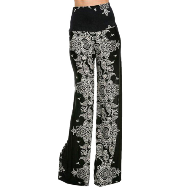 Plus Size Women Fashion Floral Printing High Waist Casual Loose Wide Leg Palazzo Pants Dance Trousers Ladies Clothes
