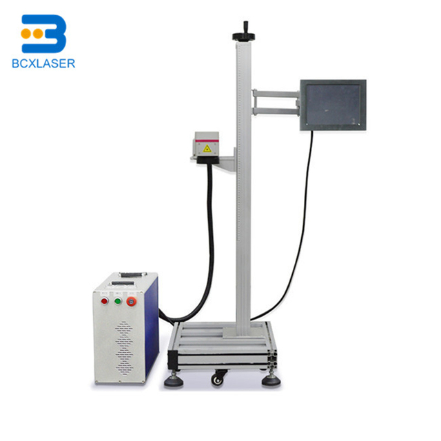 High speed flying industrial metal tags logos laser marking systems 20w 30W fiber online fly laser engraving machine for sale