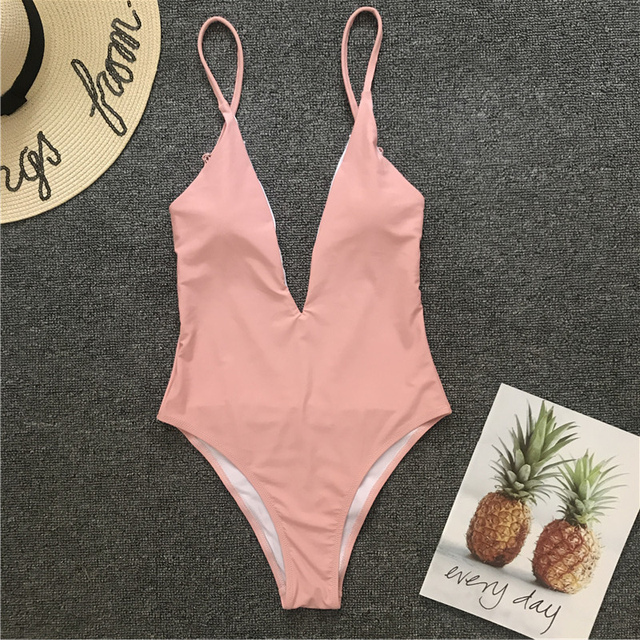 2021 Sexy Pure Deep V Backless Swimming Suit For Women  Bathing Suit One-piece Swimsuit Swimwear Maillot De Bain Femme