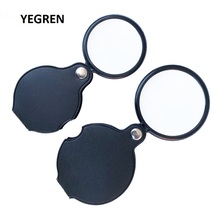 Mini Pocket Magnifier Lightweight Foldable Magnifying Glass Reading Maps Menus Documents Glass 6X50mm 5X60mm leatherette Cover