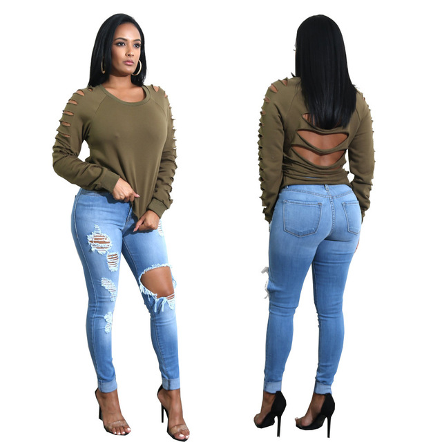 Women Denim Skinny Jeans High Waist Ripped Destroyed Pleated Hole Stretch Jeans Slim Blue Pencil Pants Plus Size  G3P7