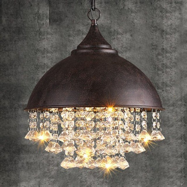 American Retro Loft Style Vintage Crystal Chandelier LED Light Fixtures For Living Dining Room Hanging Lamp Indoor Lighting