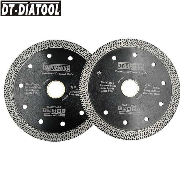 """2pcs Diameter 5"""" Hot pressed sintered Mesh Turbo Diamond Saw blade Wheel for Hard material  Dry or Wet Cutting Disc 125mm"""