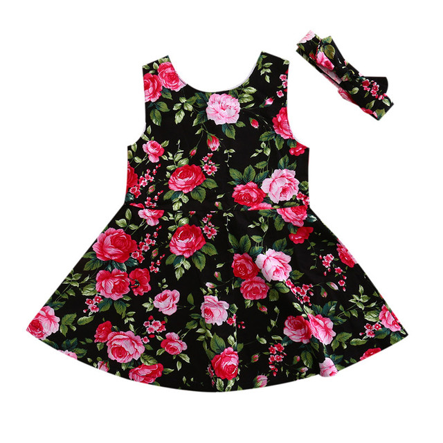 Girl Dress 2019 New Baby Dresses Pattern Print Floral Birthday Dress Female Baby Summer Clothes Toddler Kids Girl Clothes