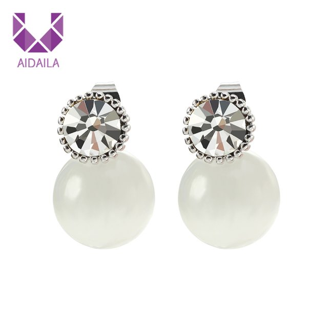 Women Stud Earrings with Opal and AAA+ Cubic Zirconia Zircon New Fashion Jewelry Wholesale Pendientes