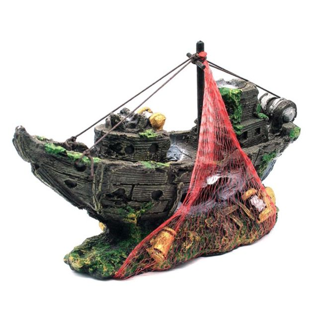 ALIM HOT Resin Aquarium Ornament Artificial Wreck Sunk Ship Sailing Boat Destroyer Fish Tank Decoration Aquarium