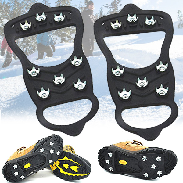 1 Pair 8 Nails Ice Floes Gripper Shoes Snow Crampons Anti-slip Ice Gripper Hiking Cleats Spikes YS-BUY