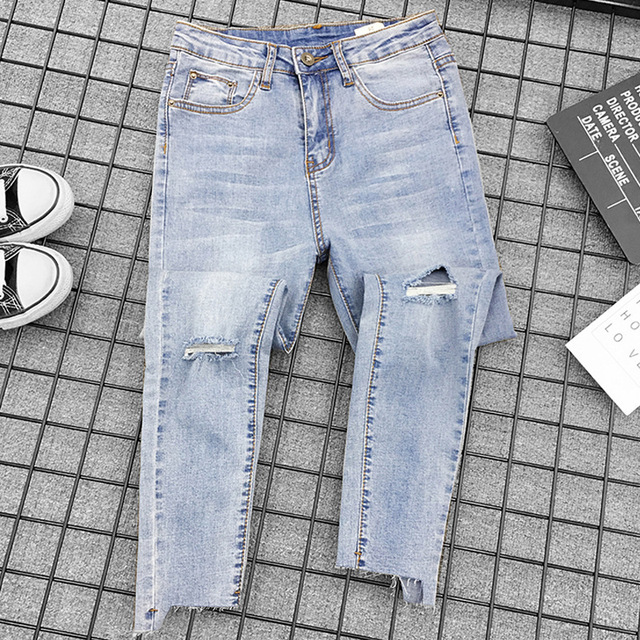 2019 Skinny Ripped Jeans Women High Waist Denim Pants Holes Irregular Knee Casual Trousers Stretch Pencil Pants Plus Size  G3P7