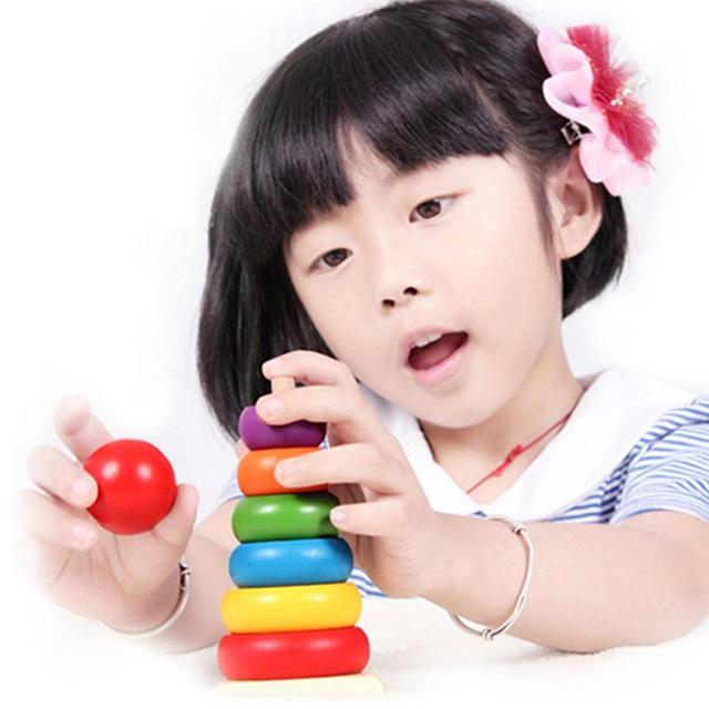 Wooden  Educational Toys New Design Kids Baby Toy Wooden Stacking Ring Tower Educational Toys Rainbow Stack Up