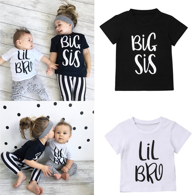 Big Sister Little Brother Family Baby Boys Girls Clothes Cotton T-shirt Big Sister Summer Letter Soft Tee Matching T-shirt Tops