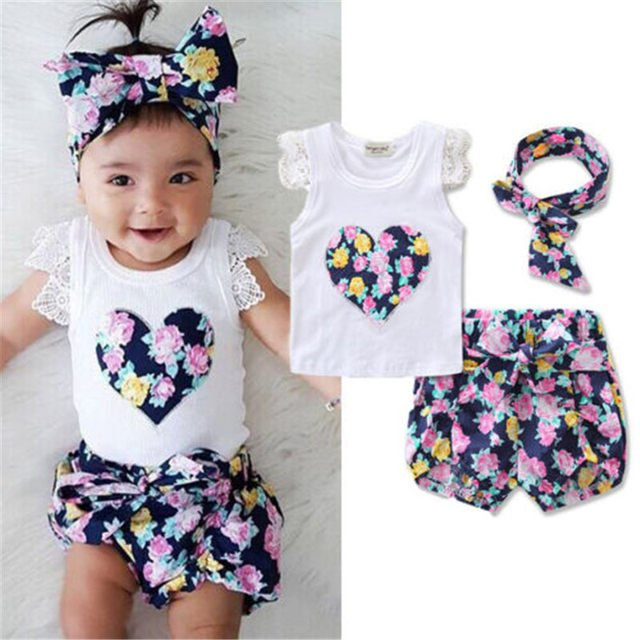 Emmababy Hot Sale Summer Floral Toddler Kids Baby Girls Outfits Clothing Set Leisure Tops Shorts 2PCS Cute Clothes for Girls