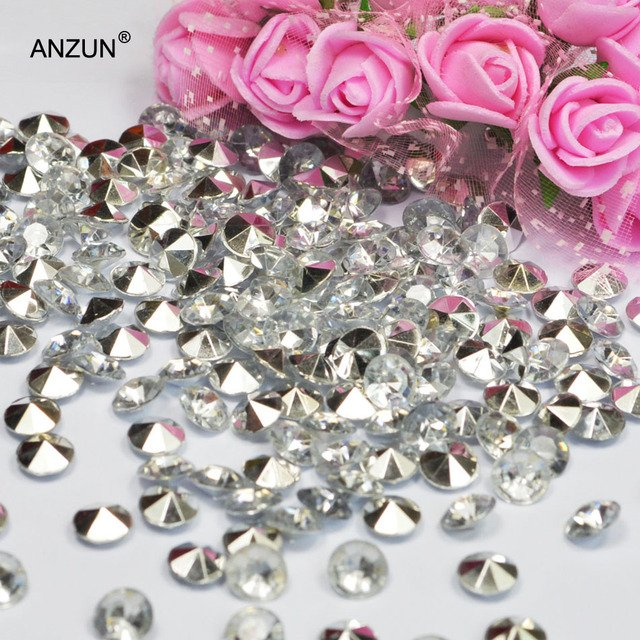 1000pcs 4.5mm/6mm/8mm/10mm Wedding Centerpiece Party Decoration Diamond Confetti Table Scatters Acrylic Crystals Silver