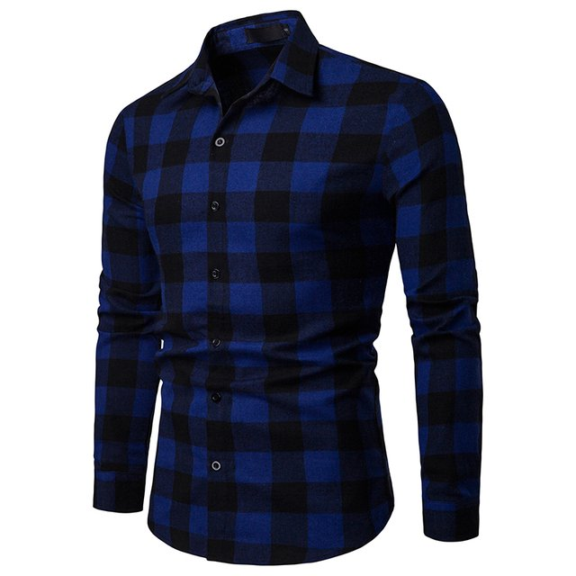 Free Shipping 2019 New Arrival Men's Business Spring and Autumn Plaid Casual Long Sleeve Mens Shirt