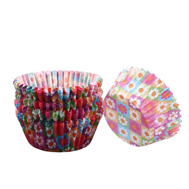 100 Pcs Food Grade Heat Resistant PE Coating Paper Baking Cups Cupcake Wrappers Thicken Cake Liners Cupcake Liners Muffin Liners