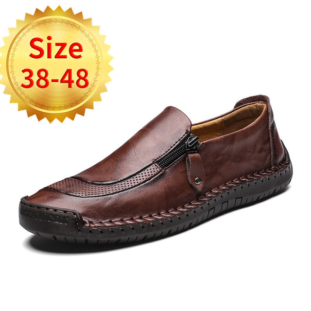 Men's Driving Shoes Genuine Leather Loafers Shoes Fashion Handmade Soft Breathable Moccasins Flats Slip On Shoes Size 38-48
