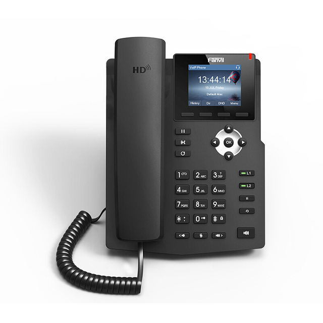 2pcs/lot FANVIL 2 sip lines  X3S voip sip phone Color Screen entry-level desktop telephone Supports EHS Wireless Headset